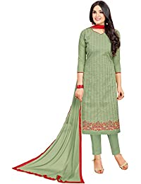 Rajnandini Women's Pure Cambric Cotton Embroidered Dress Material(JOPLMF2008_Olive Green_Free Size)