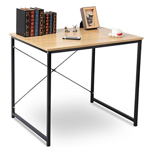 WOLTU TSB03hei-a Holz mit Eisen-Gestell Computertisch Bürotisch Schreibtisch PC Tisch Arbeitstisch...