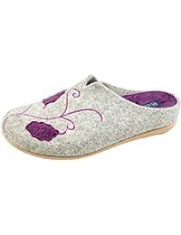 Ecoslippers Zapatillas de estar Por casa de Ante Para Mujer, Color Morado, Talla 39