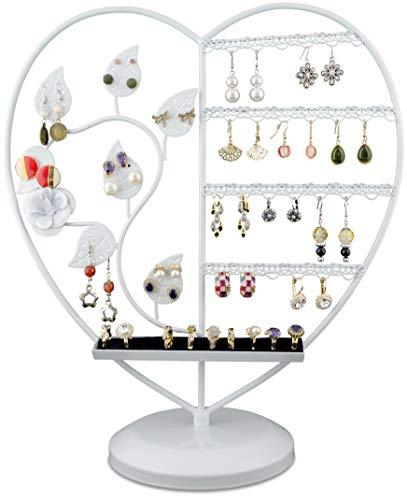 LAUBLUST Schmuckständer im Herz Design - ca. 36 x 32 x 15 cm, Weiß - Dekorativer Metall Schmuck-Halter Ornament Blätter & Ring-Podest | Schmuck-Aufbewahrung | Ohrring-Ständer | Ketten-Halter