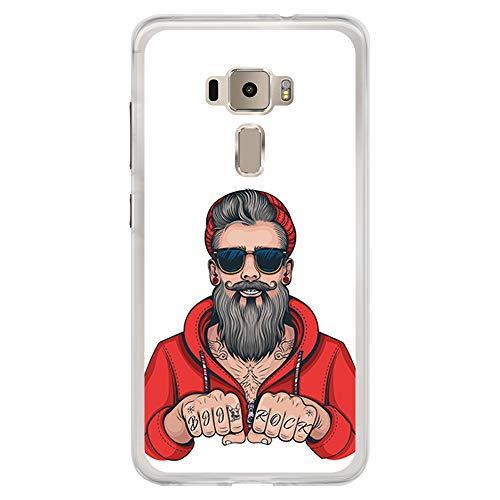 BJJ SHOP Transparent Hülle für [ Asus Zenfone 3 ZE552KL ], Klar Flexible Silikonhülle, Design: Hipster Man, Tattoos mit Bart und Sonnenbrille