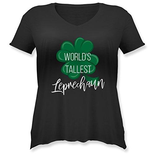 St. Patricks Day - Worlds Tallest Leprechaun - Weit Geschnittenes Damen Shirt in Großen Größen mit V-Ausschnitt Schwarz