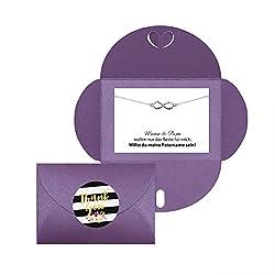 Lillyville - Willst du Meine Patentante Sein? - Geschenk für Patentante Fragen, zur Taufe, Taufgeschenk Infinity Armband Silber - Umschlag Lila
