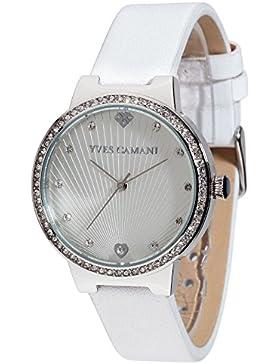 Yves Camani Damen-Armbanduhr Toulon mit rotgoldenem steinbesetzem Zifferblatt und rosegoldenem Edelstahl-Gehäuse...