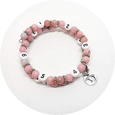 Bracelet d'allaitement perles naturelles jaspe fleur de cerisiser, bijou femme enceinte