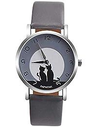Relojes de cuarzo ICHQ para mujer, con patrón de gato, reloj de pulsera para