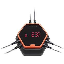 Inkbird IBT-6X Edelstahldraht Barbecue Ofenthermometer mit Bluetooth Grill Smoker BBQ Kochen Thermometer + Fleisch Temperaturfühlern für iPhone Android Smartphone (IBT-6X+6 Barbequefühler, Orange)