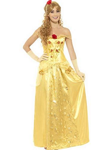 Halloweenia - Damen Frauen Prinzessinen Kostüm mit langem Kleid, Handschuhe und Kopfschmuck, perfekt für Karneval, Fasching und Fastnacht, L, Gelb