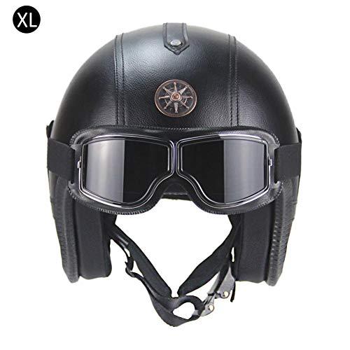 Lembeauty Casco Moto con Occhiali Rimovibile e del Casco di Protezione Retro Style da Moto Unisex Ultraviolet Proof Anti Nebbia Resistente ai Graffi occhialini Masch