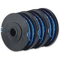 Ryobi RAC123 Lot de 3 bobines de fil pour débroussailleuse compatibles avec les modèles RLT4027, RLT5027 et RLT6030 1,5mm