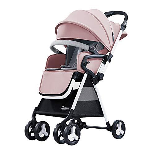 AMENZ Günstige Kinderwagen Babywagen Höhenverstellbarer Griff Klein faltbar Leicht Comfort Reisebuggy mit Liegefunktion ideal für Flugzeug - Rosa