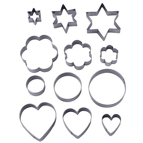 Wicemoon 12 Stück Metall Ausstechformen, 3 Sterne Form, 3 Blüten Form, 3 runde Form, 3 Herzen Form (verschiedene Größen) (Metall-ausstechformen Sterne)