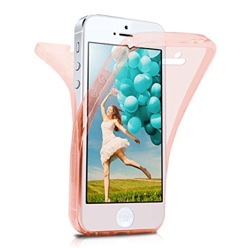 iPhone 5S Hülle Silikon Transparent 360 Grad [OneFlow Double Side Cover] Dünne Schutzhülle Slim Handyhülle für iPhone 5/5S/SE Case Türkis Silikonhülle TPU ROSE