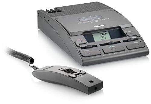 Philips LFH0725 Analoges Schreibtisch-Diktiersystem, Mini-Kassette (incl. Handmikrofon, Mikrofonhalter, Netzteil, 30 Min. Mini-Kassette), Anthrazit
