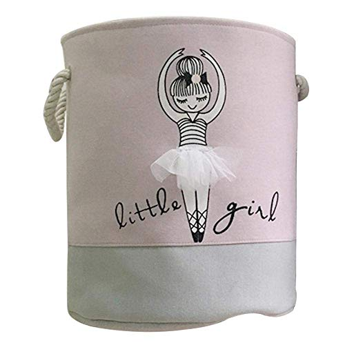 MOGOI Spielzeug Aufbewahrungskorb, Pink, Baumwolle klappbar Organizer Korb mit Griff für Mädchen Wäschesammler, Geschenk Körbe, Schlafzimmer, Kleidung, Baby Kinderzimmer 1