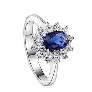 Gespout Noble Diamond Ring Elegant Crystal Rings Wedding Jewelry For Women Girlfriend Diameter (Blue,Size S)
