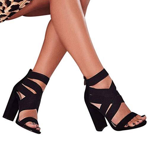 SMILEQ Damen Sandalen mit hohem Absatz Damen Gummiband Schuh High Heel römische Sandalen(Schwarz, 38 EU)