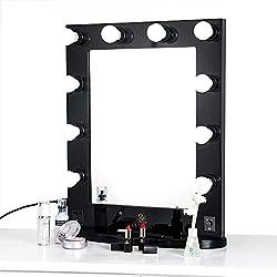 LUVODI Miroir de Courtoisie Lumineux Grand Miroir de Table Hollywood 10 LED Intensité Réglable Miroir Mural Cadre en Bois et Base Amovible Design Artistique pour Maquillage Coiffeuse 50 x 66cm Noir