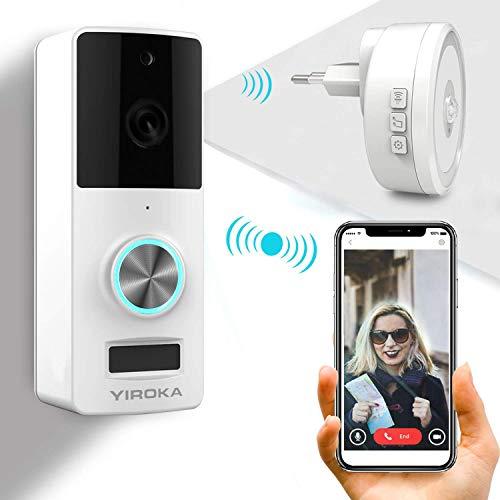 Timbre inalámbrico YIROKA, Wifi kit de timbre de video, timbre con cámara, transmisor a prueba de agua IP55, cámara de seguridad HD 720P, batería de 3600 horas, gran receptor con LED
