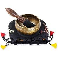 Gegossenes Klangschalen-Set in gehämmerter Antik-Optik, Kindergarten, Yoga, zum Zeichen der Aufmerksamkeit geeignet, inklusiv Holz-/Lederklöppel sowie schwarzer Unterlage, verpackt im Beutel -5053-