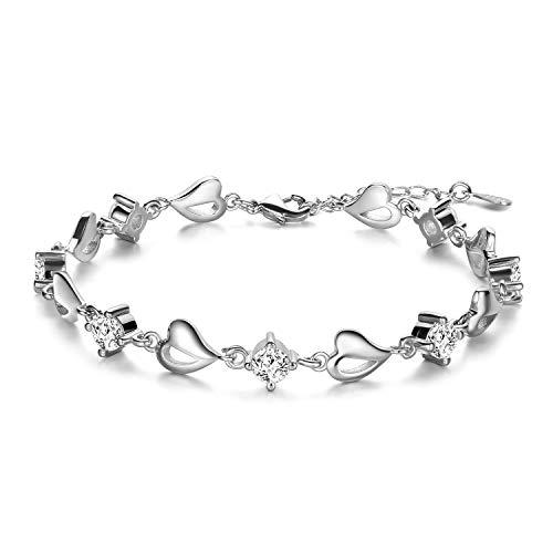 Anson & Hailey Sterling Silver Zirconia Bracciale Love and Protection per le donne Regali regali amicizia, gioielli regalo sorella