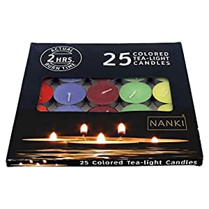 Nanki Trades Round Wax Tea Light Candle (3.5 cm x 3.5 cm, Set of 25),Multicolour