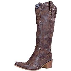 Manooby Botas de Plataforma de Mujer Zapatos de Tacón Botines de Cuero Caballero Vaquero Estilo Boho