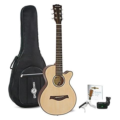 3/4 Single-Cutaway Westerngitarre Pack von Gear4music (Single Cutaway Gitarre)