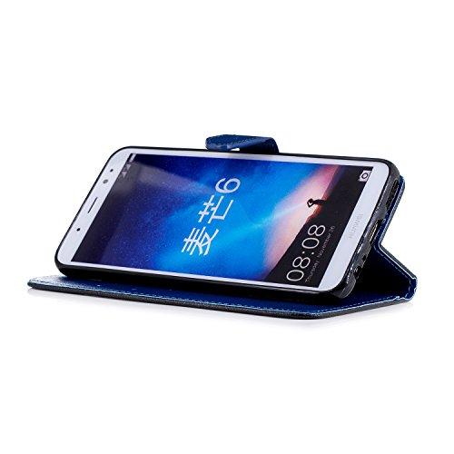 Coque Huawei Mate 10 Lite,Etui Huawei Mate 10 Lite,Surakey Huawei Mate 10 Lite Cuir PU Housse à Rabat Portefeuille Étui Flip Case Folio à Clapet Stand de Fermeture magnétique, Noir+Bleu