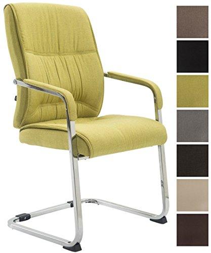 CLP XXL-Freischwinger Anubis mit Stoffbezug und gepolsterter Sitzfläche I Konferenzstuhl mit Metallgestell in Chrom-Optik I erhältlich Grün