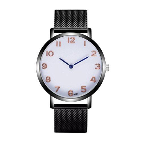 Keepwin Mode Mann Einfache Geschäfts Uhr, Edelstahl Maschen Band Analoge Quarz Armbanduhr (Color E)