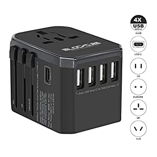 Travel AC Power Plug Adapter - International Travel Safety Fused - w/4 USB Ports + Type C Work for 150+ Countries - Worldwide Travel Adaptor Type A G I for US Japan China EU Europe by iBlockCube®
