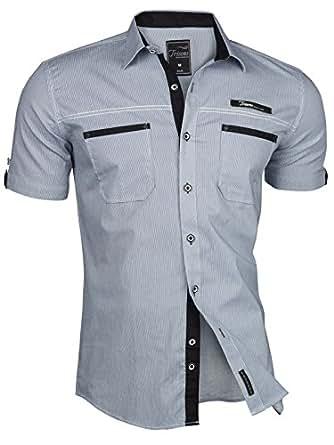 TRISENS–Camicia da uomo, a maniche corte, slim fit, estiva, in cotone, stile polo Dunkelblau 46