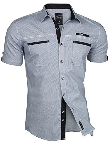 Trisens Herren Hemd Kurzarm Gestreft Slim Fit Sommer Baumwolle Polo Style Cotton, Farbe:Dunkelblau, Größe:M