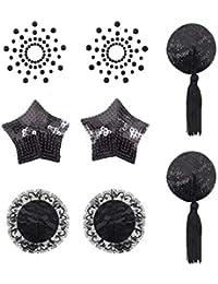 EQLEF Pastillas autoadhesivas para pegar pechos Pegatinas para cubrir pezones con borla Lencería 4 estilos - Negro