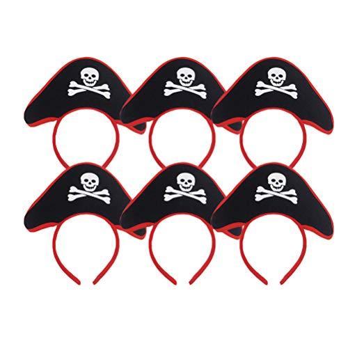 Amosfun Schädel Hut Haarband Piraten Kopfschmuck für Kinder Halloween Kostüm Party für Männer Junge 6 STÜCKE