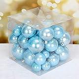 FeiliandaJJ 37PCS 4/5/6/7/8Weihnachtskugel Boxed Volltonfarbe Glänzend Kugel Weihnachten Deko Anhänger Christbaumkugeln für Weihnachtsbaum Party Home Hochzeit (Blau)