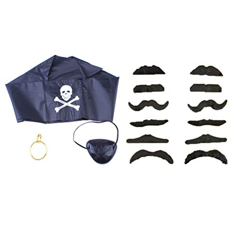 NUOBESTY Halloween Cosplay Piraten Leistung Kleidung Requisiten (Augenmaske 1pc, Ohrringe 1pc, schwarzes Kopftuch 1pc, 12pcs Black Beard Random Mask Pattern), 15pcs