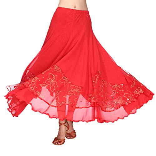 B baosity gonna a pieghe per flamenco valzer tango danza ventre danza indiana altre danze - rosso, taglia unica