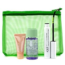 Clinique Lengthen & Define: 1x High Lengths Mascara, 1x All About Eyes Serum, 1x Take The Day Off Makeup Remover, 1x Bag- 3pcs+1bag
