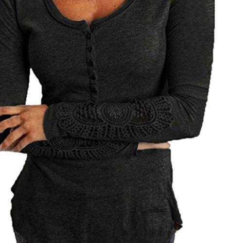 Donna Camicia Elegante Autunno Casual Maglietta Manica Lunga Giuntura Fori Moda Giovane Blusa Monocromo Rotondo Collo Slim Fit Camicie Nero