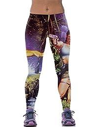 Ninimour Leggings de Impresión Cómic Europeo Printed High spandex Elastic Pants