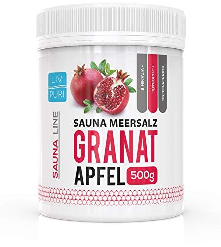 Saunasalz Sauna-Meersalz Peelingsalz | Granatapfel 500g | mit Jojobaöl | Kosmetik für die Haut |...