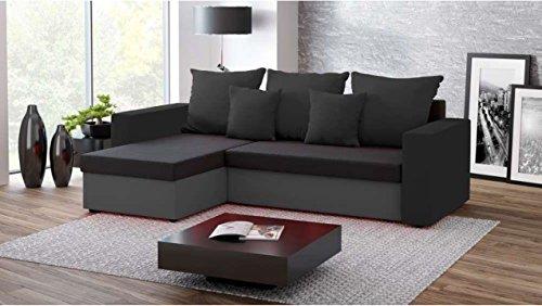 Justhome fresh iii divano angolare divano letto microfibra (lxlxa): 142x237x75 cm grigio nero i penisola a sinistra