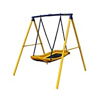 Zero Gravity Magic Carpet Kids Swing Set With Sturdy Metal Frame. Garden Fun For Up To 2 Children