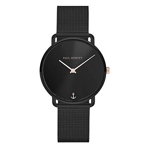 PAUL HEWITT Armbanduhr Damen Miss Ocean Black Sunray - Damen Uhr (Schwarz), Damenuhr Edelstahlarmband in Schwarz, schwarzes Ziffernblatt