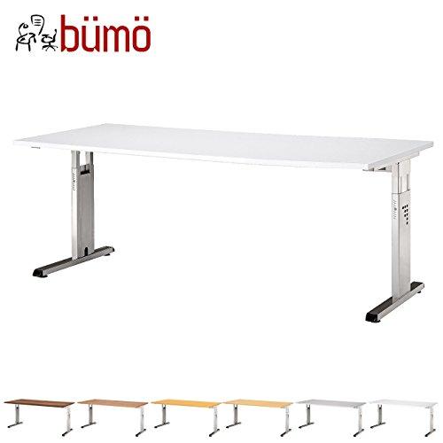 Bümö® Schreibtisch für das Büro | Bürotisch in 6 Dekoren & 7 Größen verfügbar | Büroschreibtisch (Weiß, 80_x_180_cm)