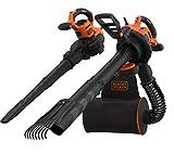 Black+Decker QS BEBLV301 - Aspirador de hojas y soplador eléctrico 3 en 1 (3000 W, con trituradora y rastrillo extraíble, mochila de 72 l, alta velocidad de soplado y potencia de aspiración regulable)