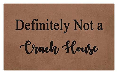 LIS HOME Auf jeden Fall kein Track House Fußmatte, Brown Black Letter geometrische Fußmatte, Outdoor Fußmatte Gummi Schuhabstreifer für Haustür Eingang Außentür Matte Terrasse Teppich -