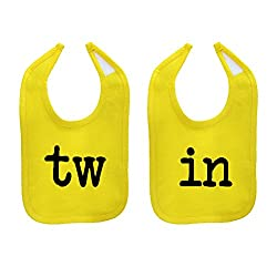 Mashed Clothing Unisex-Baby TW & IN Funny Twin Babies Cotton Baby Bib Set (2-Pack) (Yellow)